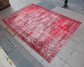 CANDY RED Overdyed Oushak Rug - 5'11'' x 8'4'' - 1940s Anatolian Handwoven Overdyed Decorative Vintage Carpet