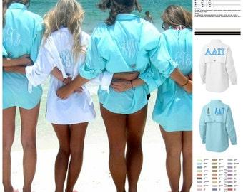 Super cute Columbia Monogrammed Fishing Shirt Swim Suit Cover Up