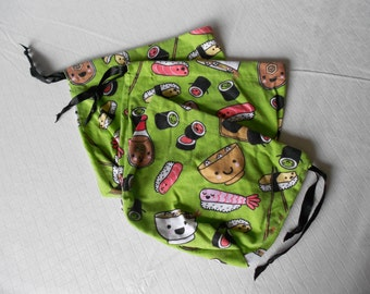 Medium Sushi Drawstring Pouches