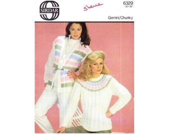 Genuine Vintage 1980s Sirdar 6329 Ladies Stylish Pastels Ribbed Yoked Sweater and Waistcoat Knitting Pattern