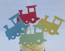 Train party decorations cupcake toppers bright colours primary colours kids birthday baby shower baby birthday train decorations party decor