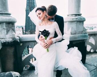 Wedding dress, bridal gown, bridal dress, long sleeve wedding dress, bridal guipure dress, wedding lace mermaid dress, mermaid dresses.