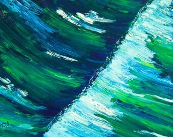 Original Oil Giclee Print, Seascape, Waves, Green, 8x10