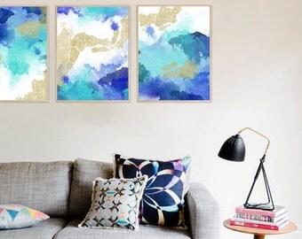 Abstract print, Abstract art, Blue, Art, Gold glitter, Watercolor, Modern art, Digital art, Printable art, Digital art Instant Download A3