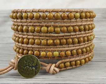 BOHO Beaded bracelet 5 Wraps bracelet natural stones bead wrap bracelet leather wrap bracelet gypsy wrap bracelet bohemian bracelet SL-0108