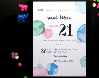 Printable Birthday Party Personalised Invitation. Confetti Stationary Suite.