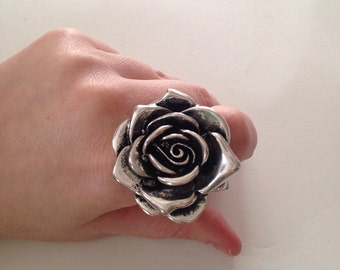 Silver Flower Ring, Adjustable ring, Silver tone large flower ring
