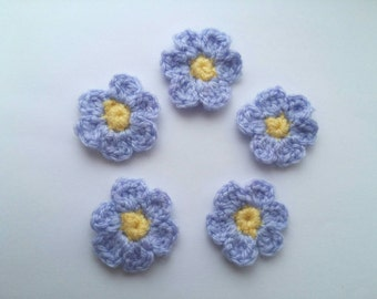10 Crochet Flowers, applique, decoration, scrapbooking, card making, crafts, sewing.