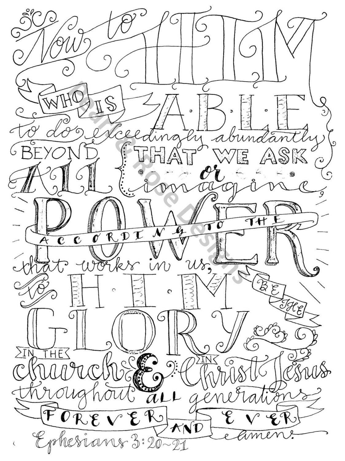 coloring page ephesians 3 20 21 now unto him instant