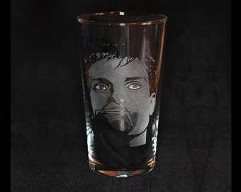 Ian Curtis Joy Division hand engraved beer pint glass by JayEngrave