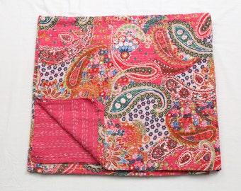Indian Kantha Quilt Queen Size Bedsheet Handmade Throw Pink Paisley Bedspread Bedcover New Kantha Throw Beautiful Bedsheet