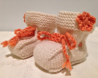 Knitted wool baby booties, Handmade baby booties, Girl's baby booties