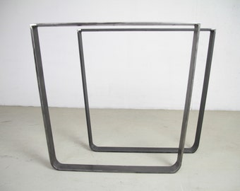 INDUSTRIAL TABLE LEGS, set of 2 U-Form industrial Raw Steel Legs, Steel Industrial Legs, Available in every Colour, Raw Steel Legs