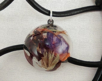 Black Leather Adjustable Necklace with Handmade Resin Pendant