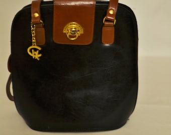 Vintage Black Brown Purse Handbag with Gold detail Paris Roma Tokyo