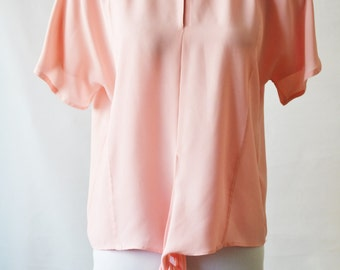 Vintage Pale Pink blouse Pink top Tie front top by Windsmoor Size 8