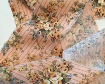 Distressed Ribbon/Hand Frayed Trim/Distressed Fabric/Paris Country Trim/Rose Fabric Trim/Fabric Ribbon/Hand Frayed Ribbon/French Fabric Trim
