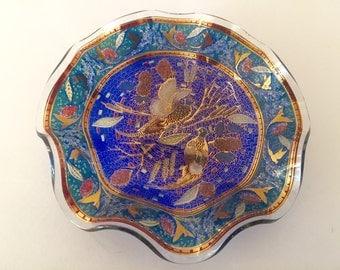 Vintage Cobalt Blue Ruffled Edge Glass Dish; Art Glass; Gold Inlay; Birds