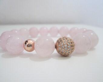 Rose Quartz, Rose quartz bracelet, Stone bracelets, Womens jewelry, Womens bracelets, Gift for women, Gift, Natural stone bracelets, Jewelry