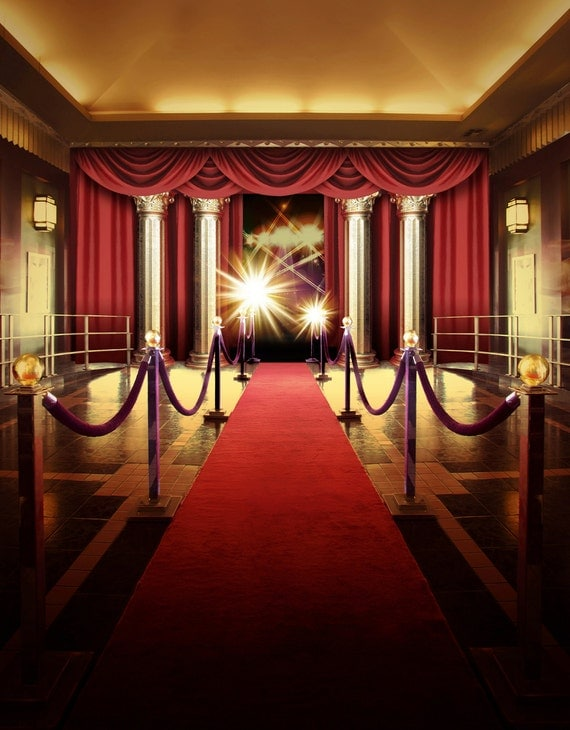 Red Carpet Backdrop Interior Stage With Camera Printed