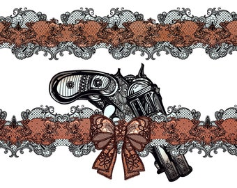 Large Temporary Tattoo Garter with Old School Gun and Red Bow. Halloween
