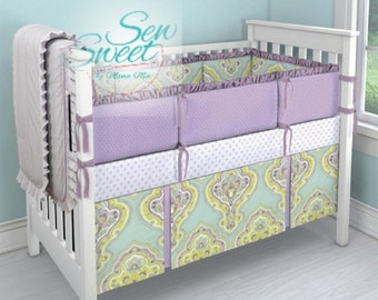 Aqua and Amethyst crib bedding, Baby Girl Bedding Set, Designer Crib Set - Sew Sweet by Mama Mia