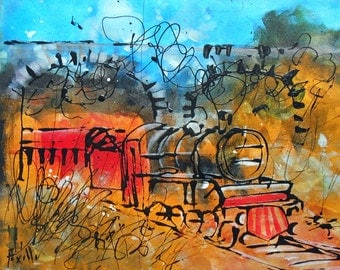 Painting  The small steam train