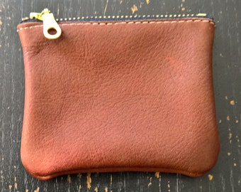 Cherry Ave - Small Whiskey Leather Coin Purse, Copper Coin Pouch, Change Purse
