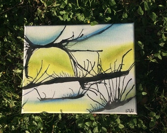 "Painting, 8"" X 10"" 'Wetlands' Oil Pastel and Ink on Canvas"