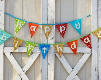 Fabric happy birthday banner bunting garland