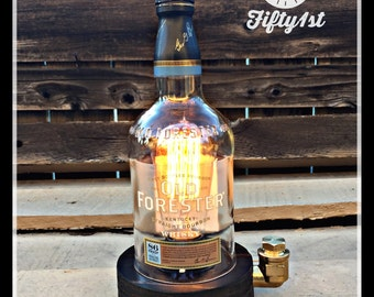 """Rustic Desk lamp """"Forester"""", Reclaimed wood light, Industrail table lamp, touch dimmer"""