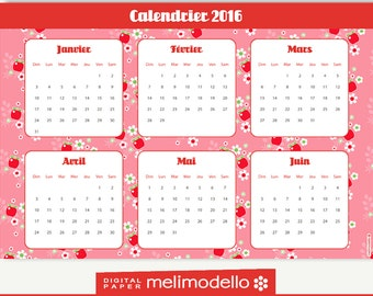 "PRINTABLE 2016 CALENDAR  ""Aglaë""- 3 languages : English, french, spanish"