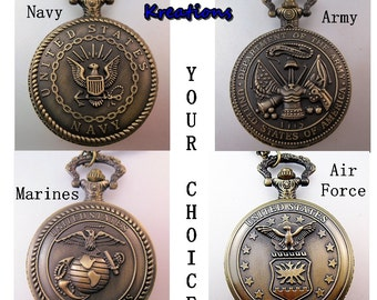 """CUSTOM Personalized US Marines Marine Corps Navy Army Air Force Military Pocket Watch & 31"""" Chain Necklace or 14"""" Belt Chain Vintage Style"""
