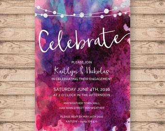 Watercolour Engagement Invitation - Print At Home File or Printed Invitations - Watercolor Personalised Berry Engagement Invite - Unique