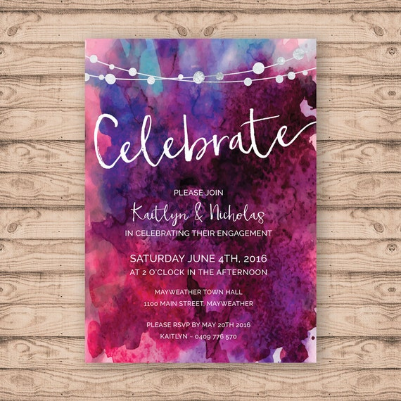 Watercolour engagement invitation print at home file or for 21st birthday decoration ideas for girls