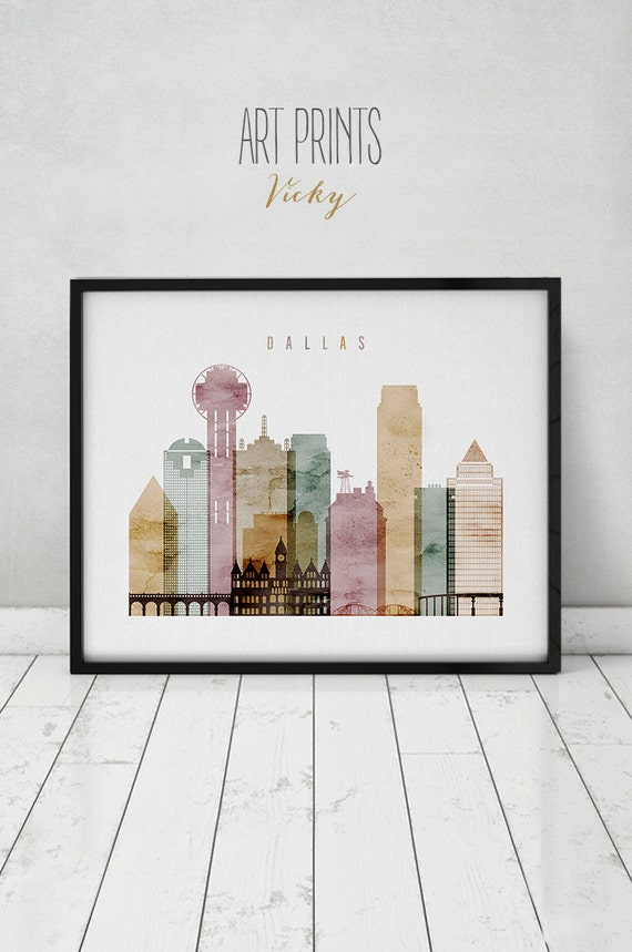 Dallas Watercolor Art Print Poster Wall Art Dallas Skyline
