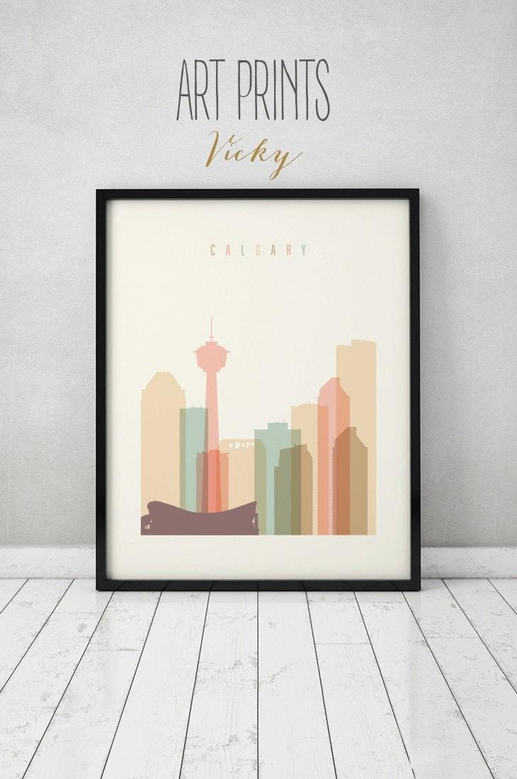 Calgary print poster wall art Calgary Alberta Canada skyline