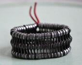 recycled bike chain bracelet 3 line, rasta #4