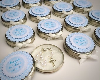 First Holy Communion Favour - Tin with mini Rosary - Personalized Wedding Baptism Christening Favor