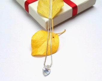 Dainty Swarovski Heart Necklace