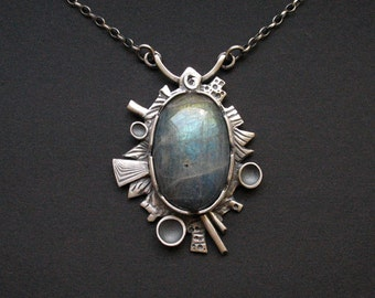 Alternate Universe - unique handmade silver necklace with amazing labradorite, metalwork, one of a kind, FREE SHIPPING