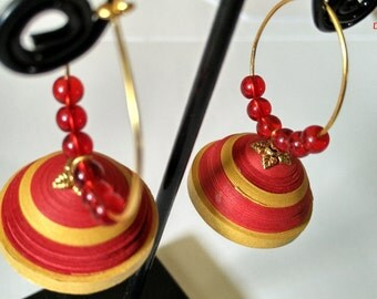Paper Quilled Earring / Paper Jhumka In Red and Golden Colour