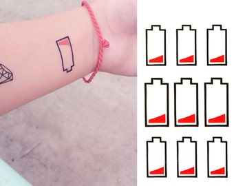 Out of Battery - Fun Cool Hipster Temporary Tattoos