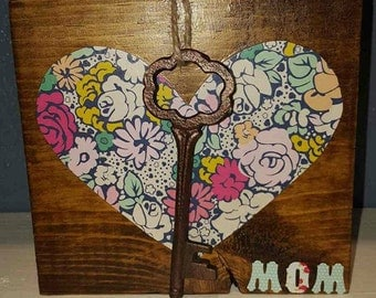 Wooden Heart Block  - Mother's Day