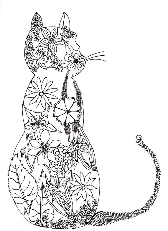 Page colorier pour adulte chat fleurs par