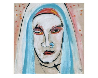 cool nun 20/20 cm images women, portrait painting abstract