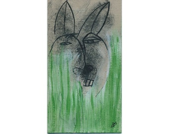 "Image 18/10 cm ""The Tarn Bunny"" unique portrait, painting drawing funny, modern art abstract"