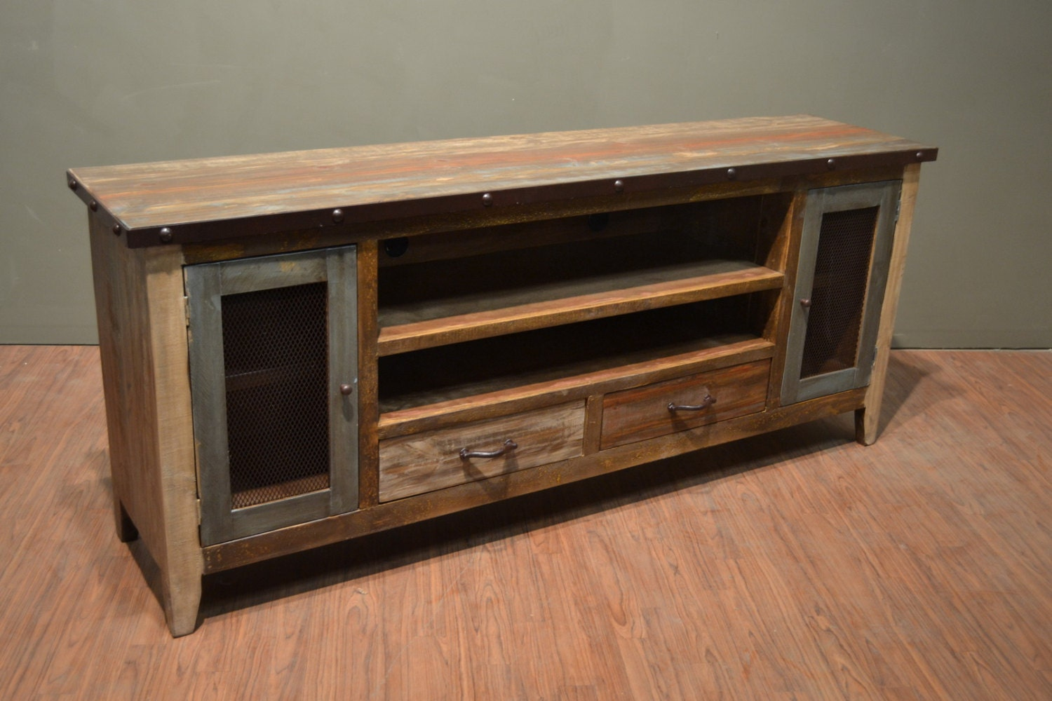 industrial rustic reclaimed wood 76 inch tv stand media. Black Bedroom Furniture Sets. Home Design Ideas