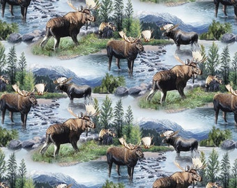 Wild Wings Moose Lake Massepequa Fabric From Springs Creative Sold by the Yard