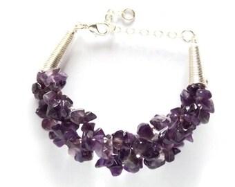 Chunky Amethyst Bracelet, Statement Jewelry